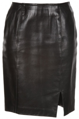 black leather pencil skirt with side split