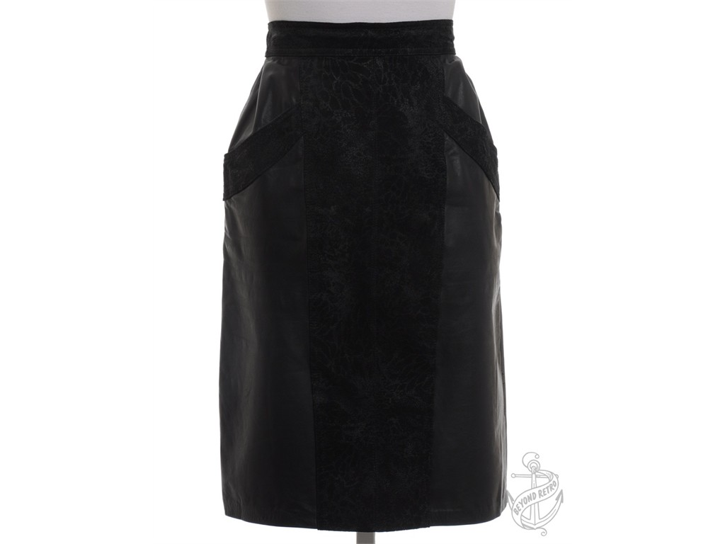 knee length vintage leather skirt