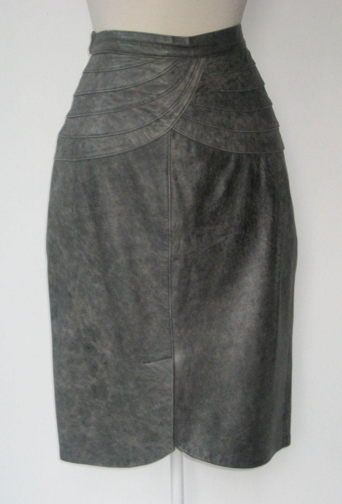 grey vintage leather skirt
