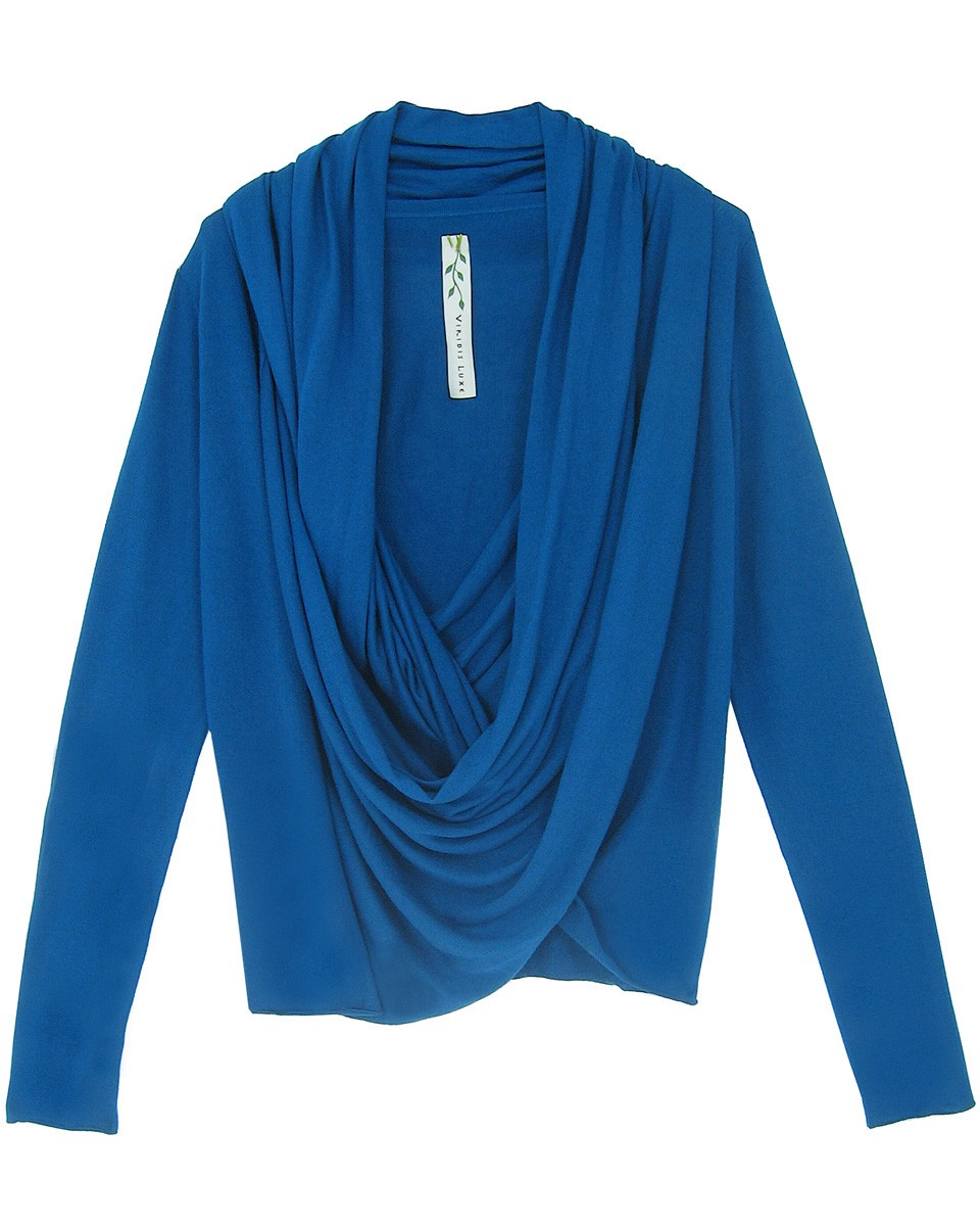 viridis luxe bamboo cashmere silk drape front sweater top knit sustainable blue Tuesday Treats   Ethical Knitwear