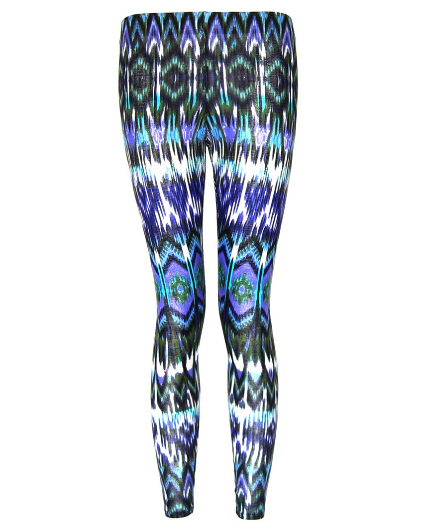 sustainable blue aztec leggings