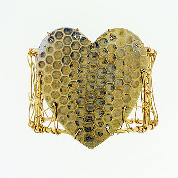 golden heart cuff Tuesday Treats   Recycled Jewellery