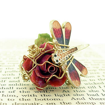 red rose ring with butterfly Tuesday Treats   Recycled Jewellery