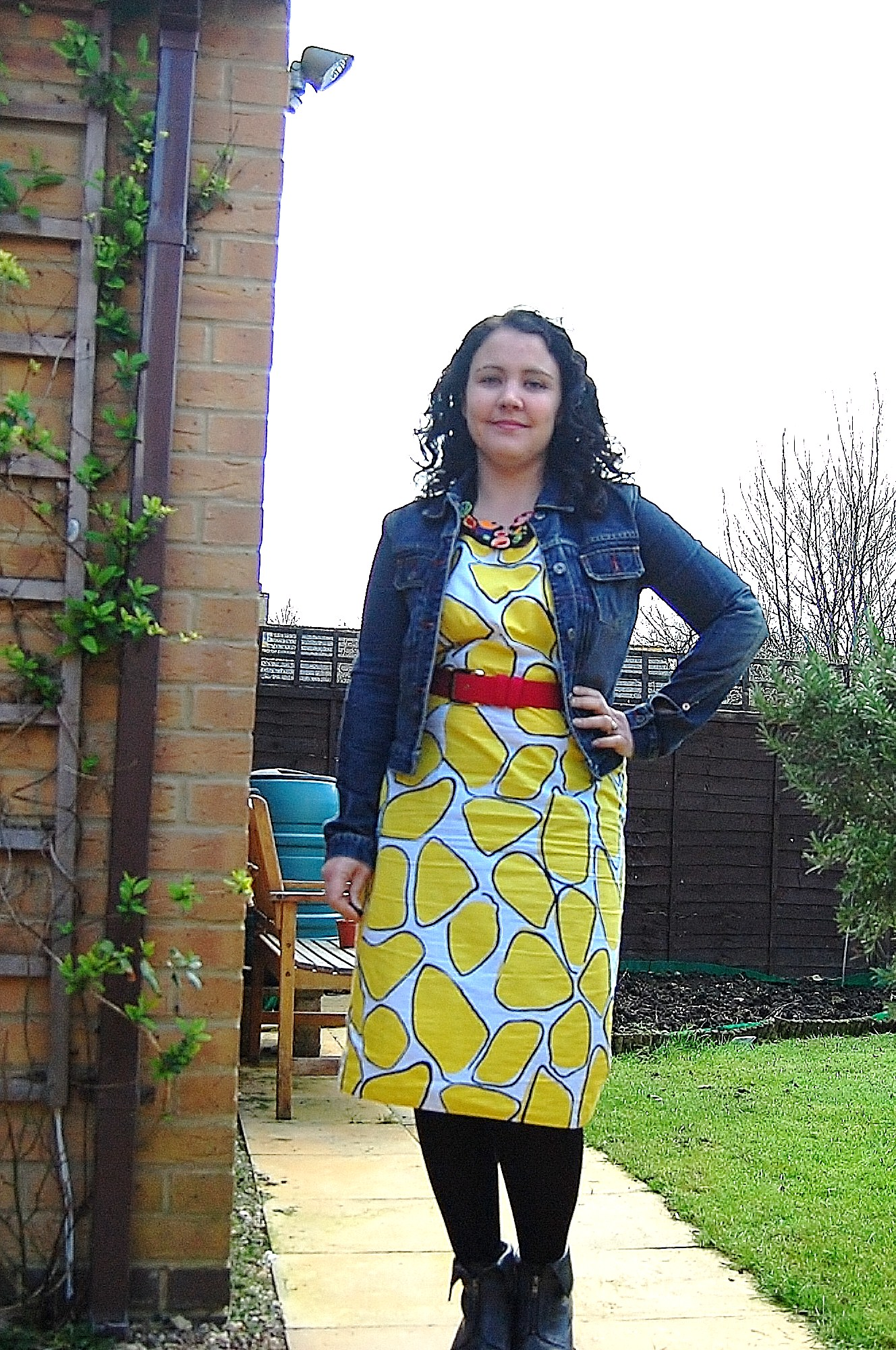 134 Crazy Yellow Print Dress