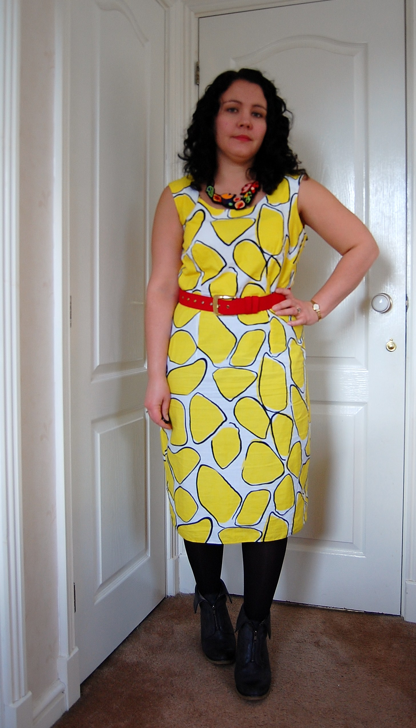 yellow dress Crazy Yellow Print Dress