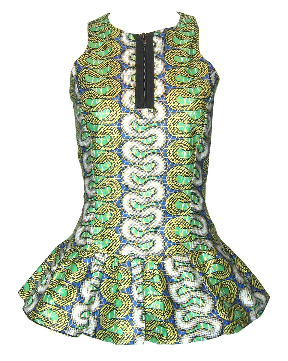 fair true fair trade blue green peplum zip top wb Ethical Prints For Spring Summer 2012