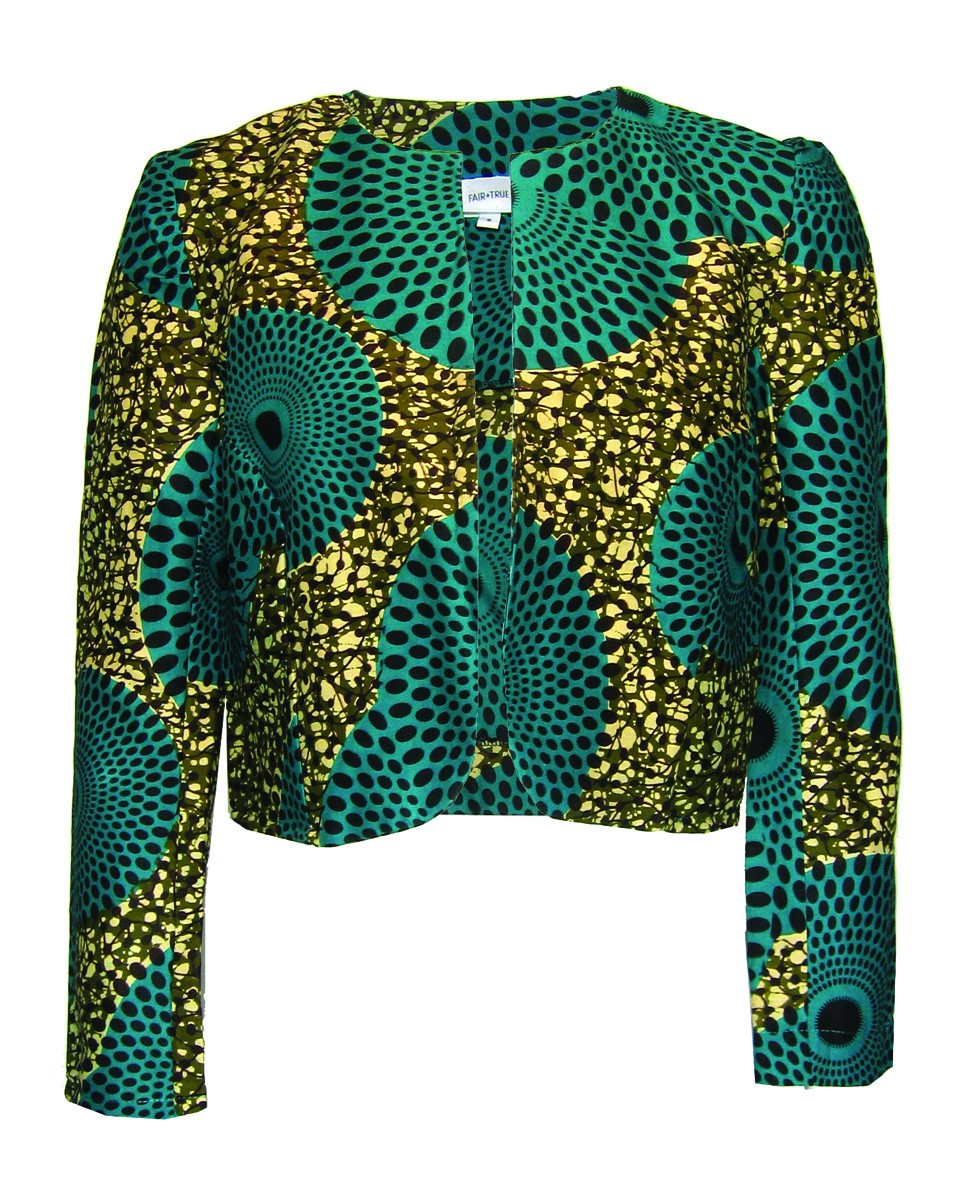 fair true teal cropped print jacket Ethical Prints For Spring Summer 2012