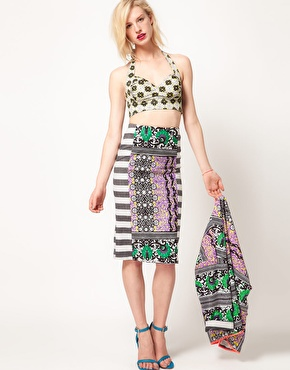 ASOS Africa Spring Summer 2012 block print pencil skirt