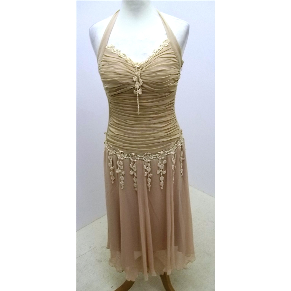 beige halter neck dress