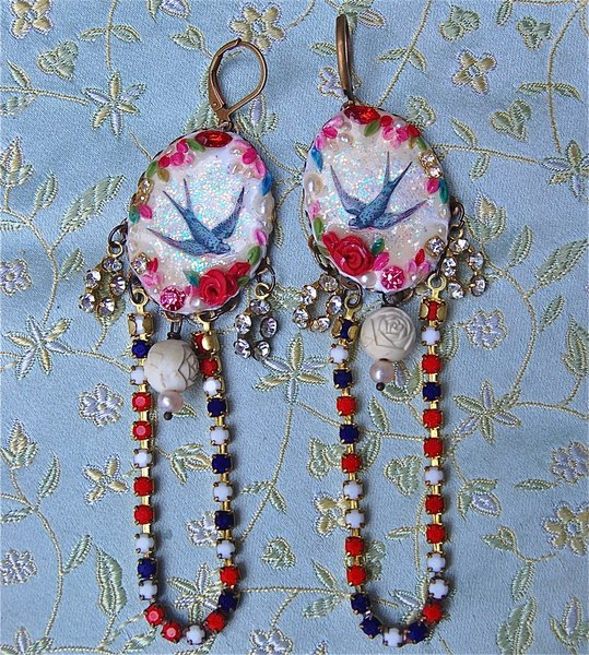 Handmade bird earrings