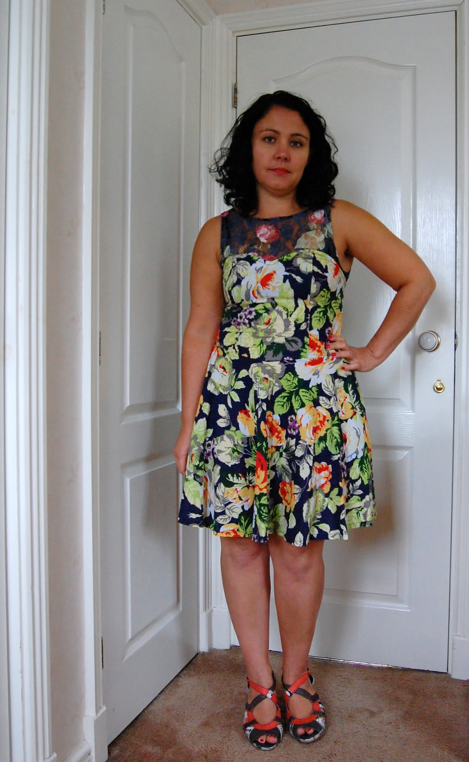 077 An Upcycled Lace and Floral Dress