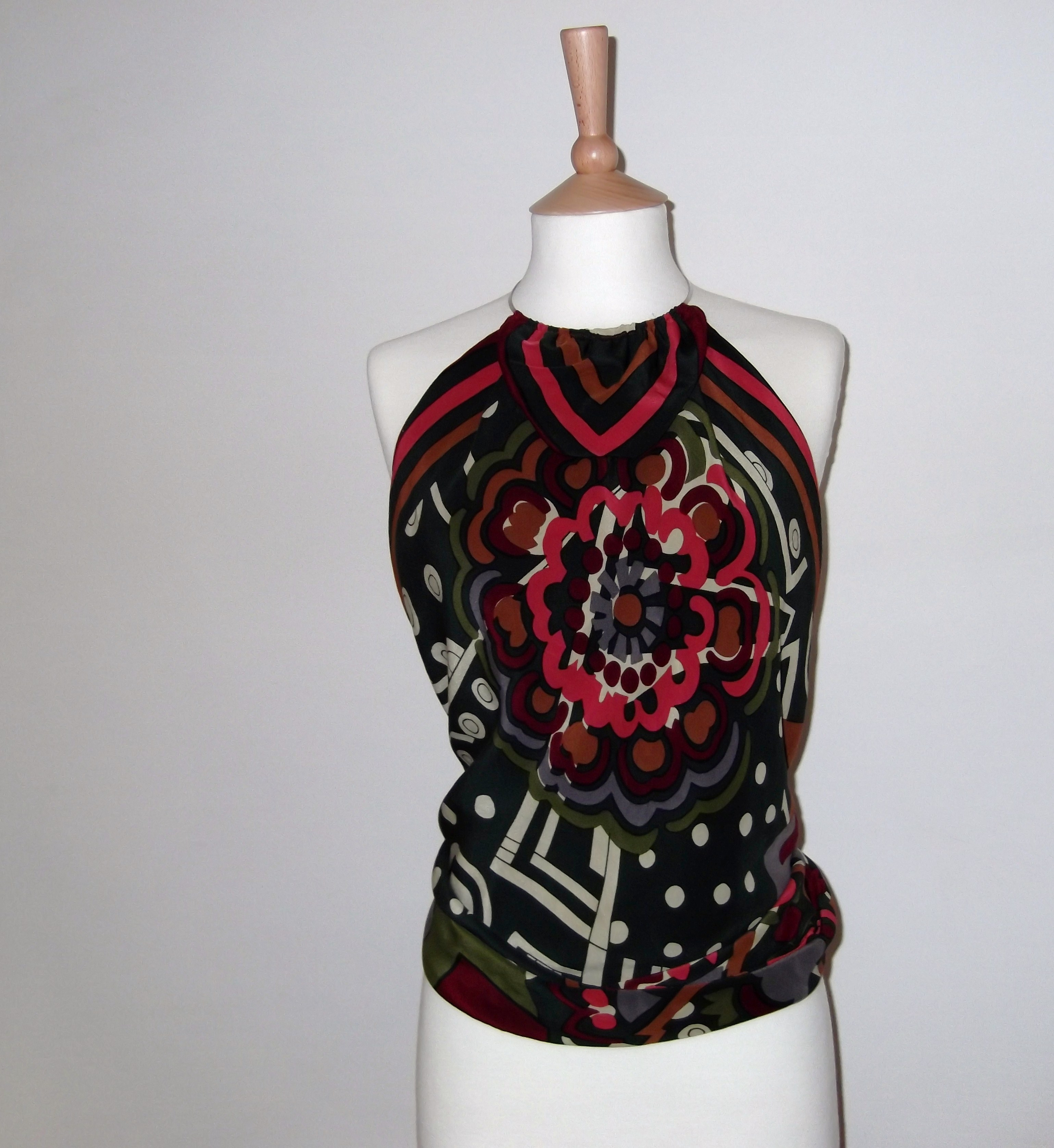 Top 5 front pink black retro Striking Vintage Scarf Tops
