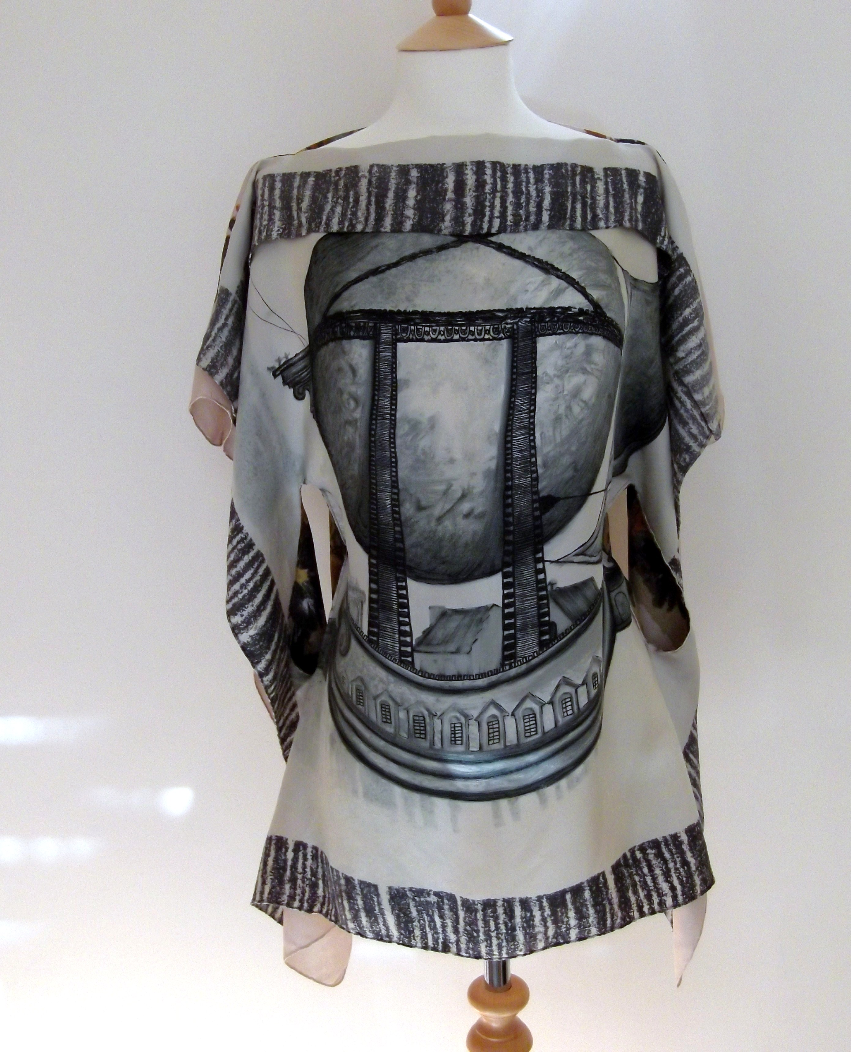 Top 8 front grey design Striking Vintage Scarf Tops