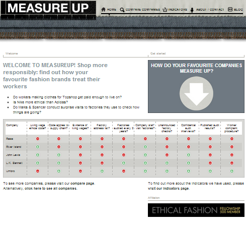 Measure up ethics fashion website