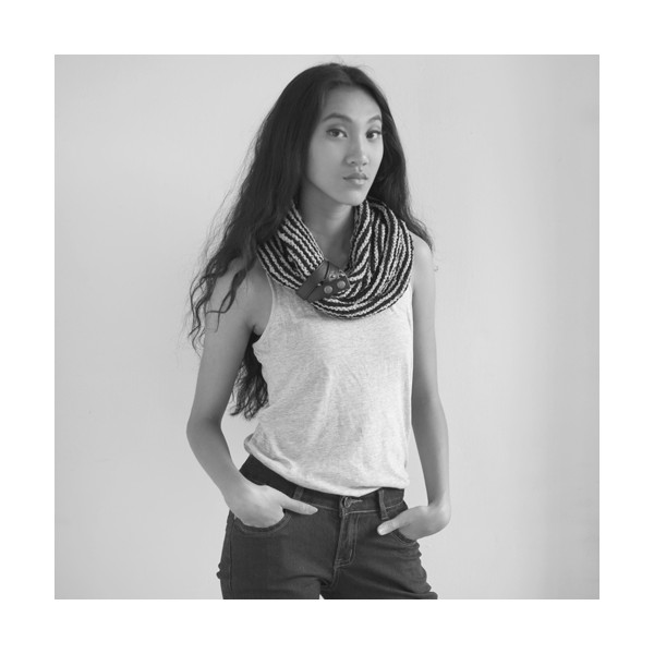 vela stripy neck scarf with leather tab Directory