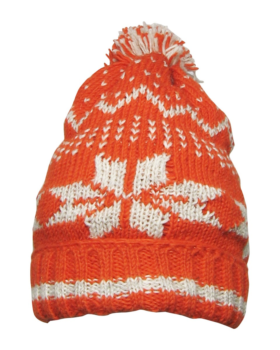 fair true fair trade knitted snowflake hat orange grey Eco Living    Early Christmas Shopping!