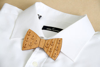 normal anchor print wooden bow tie Eco Living   Christmas Shopping Stocking Fillers