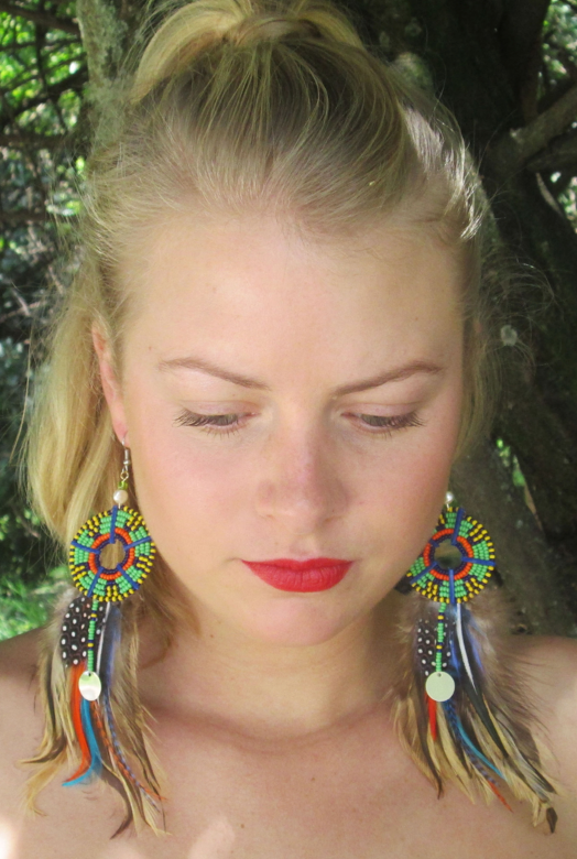 Masai feather earrings
