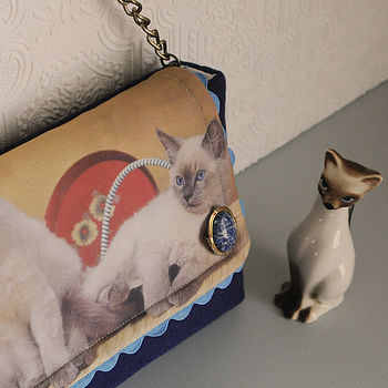 normal pussy cats handmade clutch bag Handmade Christmas Gifts   Not on the High Street