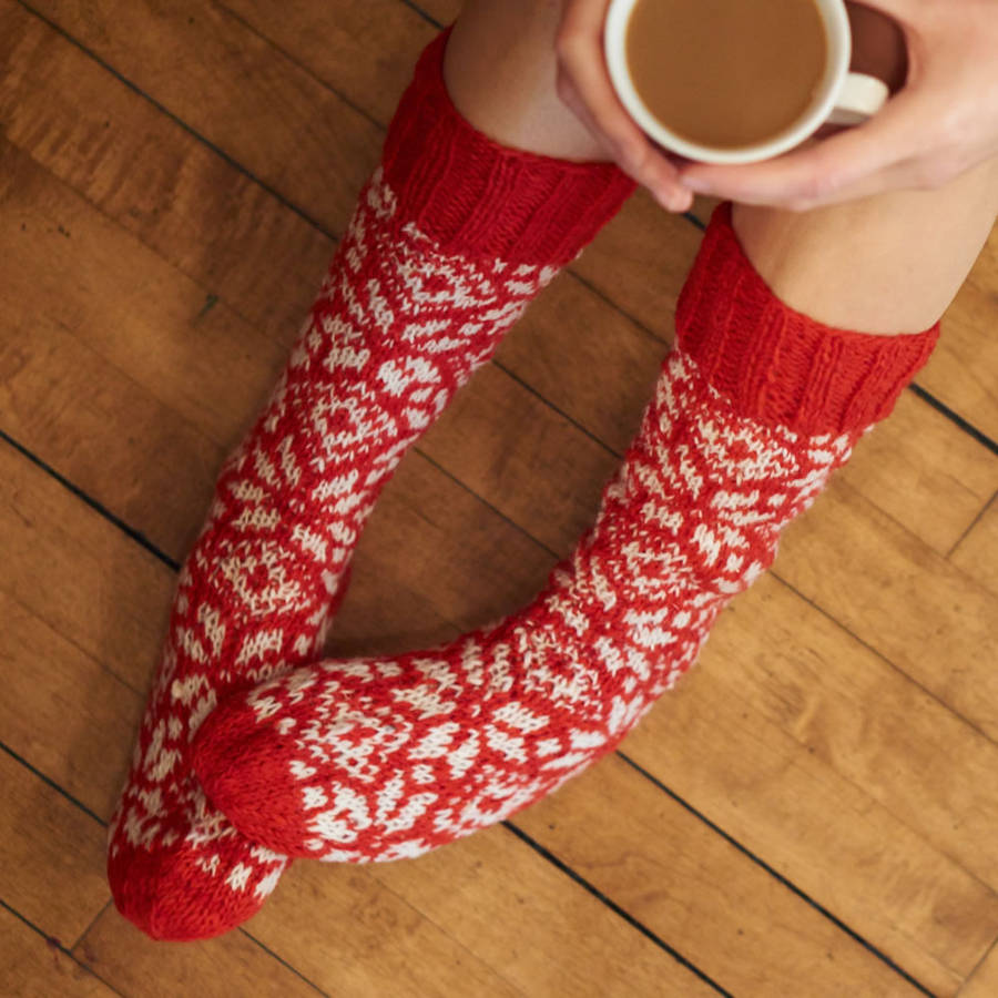 original hand knitted red wool socks Handmade Christmas Gifts   Not on the High Street