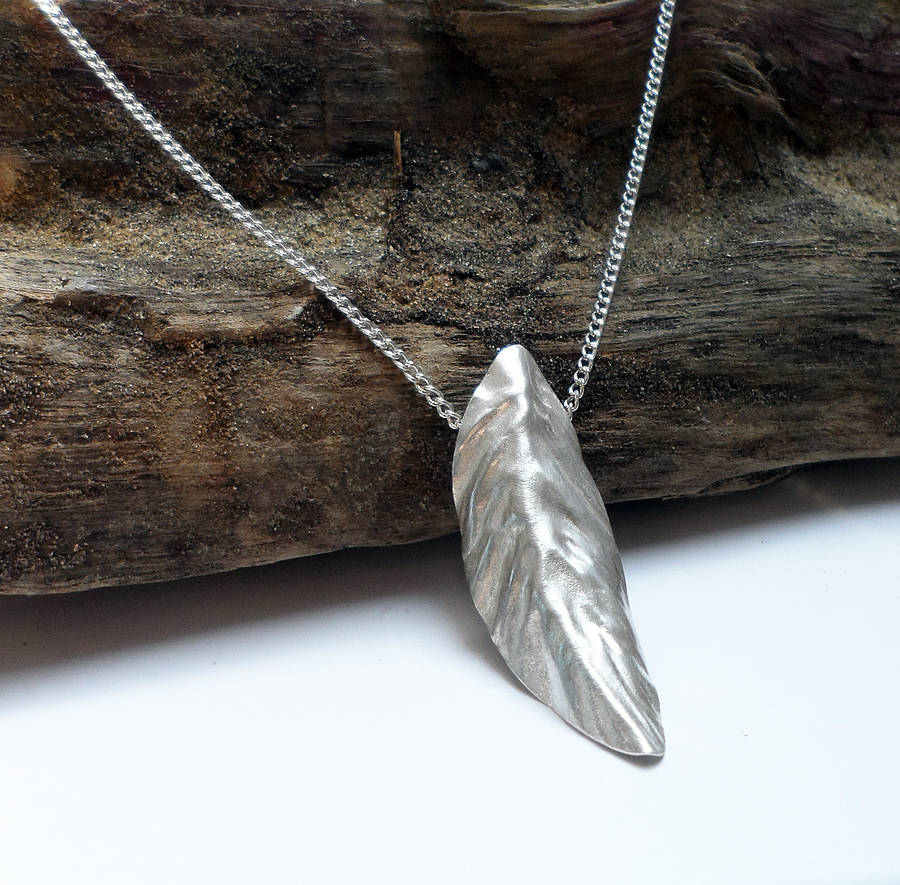 original silver leaf necklace Handmade Christmas Gifts   Not on the High Street