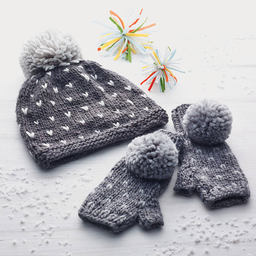 Hand knitted hat and gloves