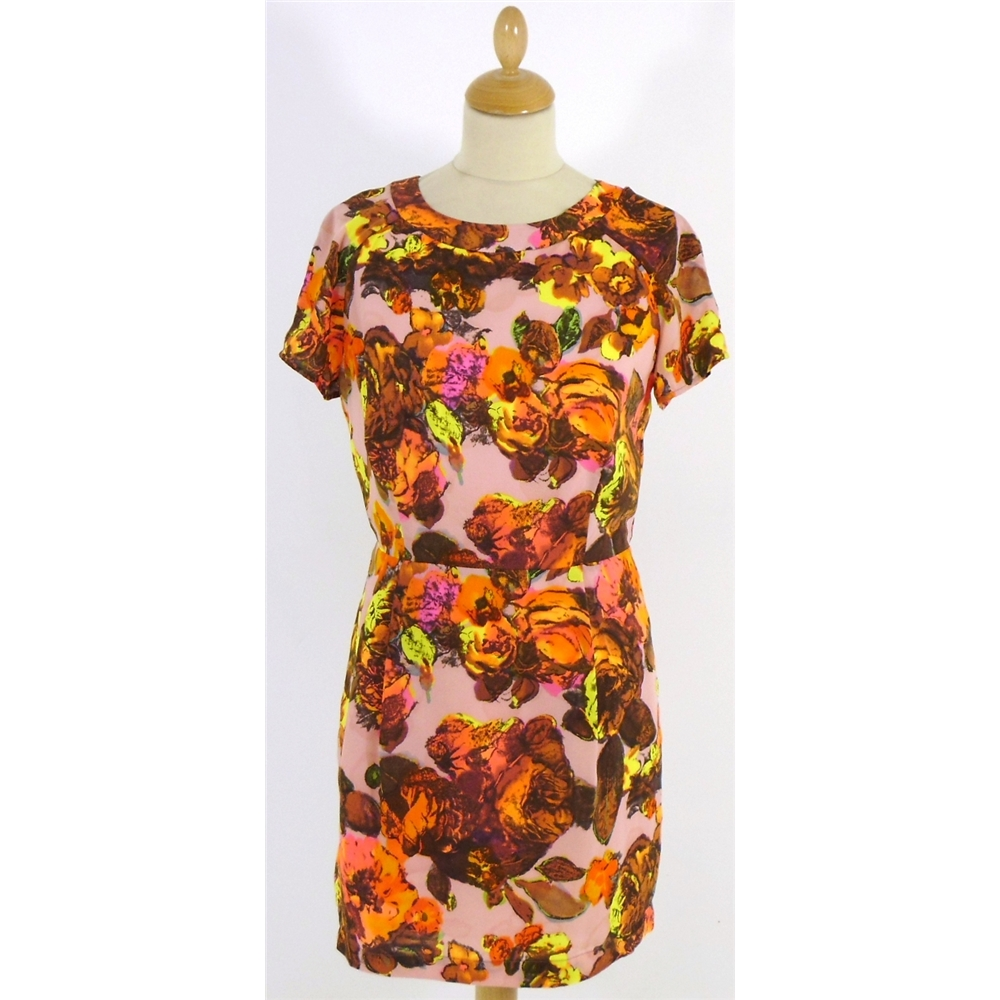 fluorescent floral shift dress