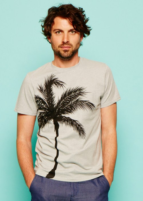 palm tree tee in grey melange 2d1a660d14f8 Ethical Fashion Menswear