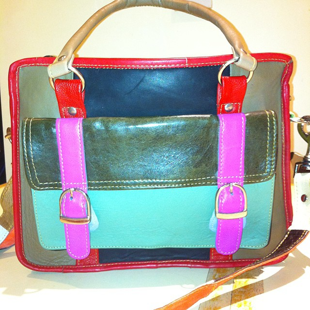 upcycled leather bag