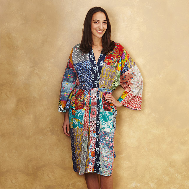 upcycled cotton sari robe